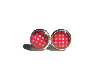 PINK POLKA DOT earrings - pin up girl earrings - polka dot earrings - vintage style earrings - gifts for her - hypoallergenic - for kids