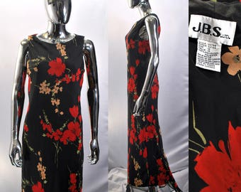 Long Floral Dress | 90s Black & Red Maxi, With Flowers Print. Tag Size 10, J.B.S. Ltd Brand. Sleeveless Scoop Neck Top. 1990s Vintage