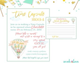Time Capsule First Birthday Time Capsule Sign Hot Air Balloon Birthday Party Oh The Places She'll Go 1st Birthday Printable Gold Mint
