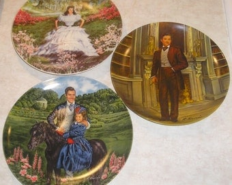 Vintage 3 Knowles Collector Plates ~ Gone With The Wind ~ Rhett, Bonnie,& Scarlett