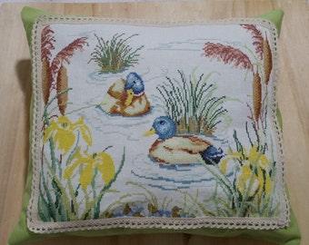 Cross Stitch Cushion Ducks