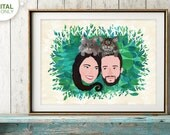 Custom Couple Portrait, Mothersday Gift, Anniversary Gift, Family Portrait, Wedding Gift, Birthday Gift, Romantic Gift