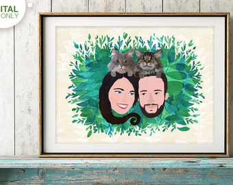 Custom Couple Portrait, Mothersday Gift, Anniversary Gift, Family Portrait, Wedding Gift, Birthday Gift, Romantic Gift
