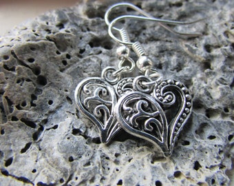 Tibetan silver heart earrings , Silver dangle heart earrings , Heart charm earrings Silver plated earrings , Gifts for her