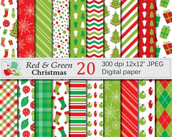 Red and Green Christmas Digital Paper Set, Christmas Digital papers, Christmas Lights, Trees, Stockings, Presents, Ornaments, Download