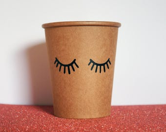 Eyelash Party Cups, Princess Party Tableware, 8oz Kraft Paper Cups, Lash Party Cups, Baby Shower Cups, Brown Paper Cups, Eyelash Party Favor