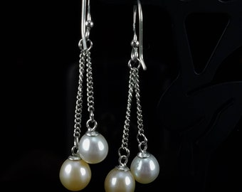 Pink & White Cultured Freshwater Double Pearl and Sterling Silver Dangle Earrings
