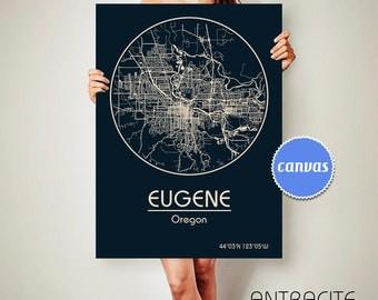 EUGENE Oregon CANVAS Map Eugene Oregon Poster City Map Eugene Oregon Art Print Eugene Oregon