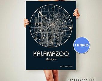 KALAMAZOO Michigan CANVAS Map Kalamazoo Michigan Poster City Map Kalamazoo Michigan Art Print Kalamazoo Michigan poster Kalamazoo ArchTravel