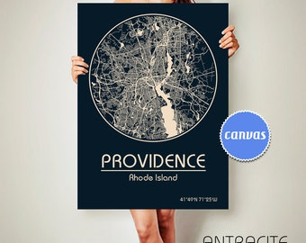 PROVIDENCE Rhode Island CANVAS Map Providence Rhode Island Poster City Map Providence Rhode Island Art Print Providence