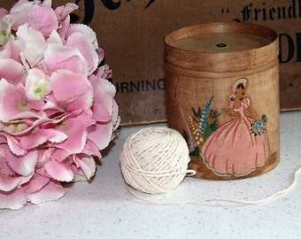 Vintage String Holder/Crinoline Lady Box/Birch String Box/Kitchenalia/Sale(1940H)