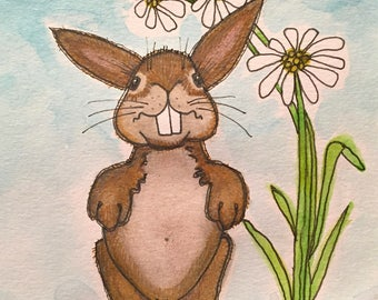 DAISY Bunny 5x7 (matted 8x10) Original Watercolor