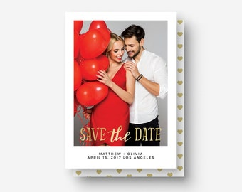 Save the Date Card PSD Template - Minimal Gold Wedding Template - Engagement Template - Photography Marketing Template - PSD - Digital File