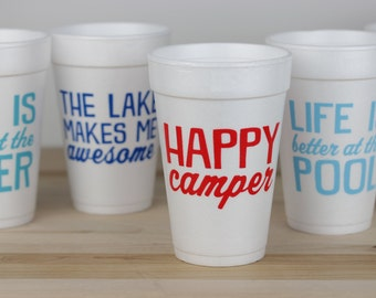 Happy Camper Cups, Camping Cups, Funny Camping Cups, Cookout Cups, Funny Foam Cups, Spring Break Cups, School's Out, Vacation Cups