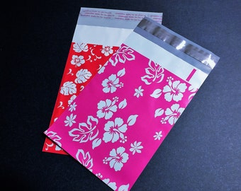 100 NEW 6x9 Designer Poly Mailer Flower Assortment Red and Pink Hibiscus 50 Each  Self Sealing Envelopes Shipping Bags