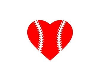 Baseball Heart SVG File Cutting, DXF, EPS design, cutting files for Silhouette Studio and Cricut Design space