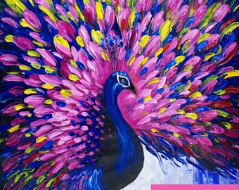 Extra Large Wall Art. Blue Peacock Painting. Home Decor. Modern Art Wall Hanging. Original Painting on Canvas Art. Animal Painting