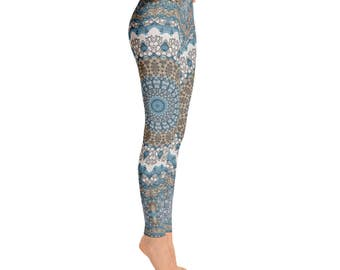 Mid Rise Patterned Leggings for Women - Tribal Yoga Pants, Mandala Printed Boho Leggings, Burning Man Leggings, Shaman Clothing