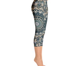 Printed Workout Capris, Leggings With Designs for Women, Nature Leggings, Brown and Green Mandala Yoga Leggings, Yoga Pants