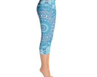 Capris - Leggings Yoga Blue, Printed Yoga Tights, Mandala Art Pants, Blue Leggings, Womens Stretch Pants