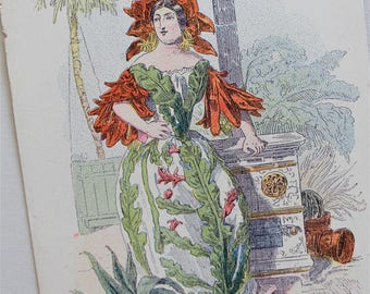 Victorian Anthropomorphic Botanical Postcard - Les Fleurs Animees Grandville Flowers - Botanical Print - Fantasy Postcard