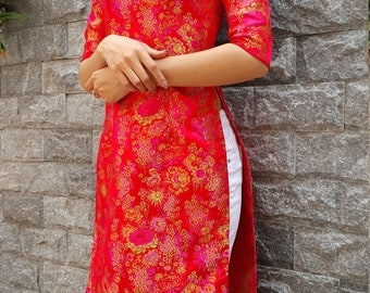 red dress, vintage style, asian dress, ao dai vietnam, vietnam, tunic, vietnamese dress, ao dai dress,ao daii, vietnamese, ethnic dress