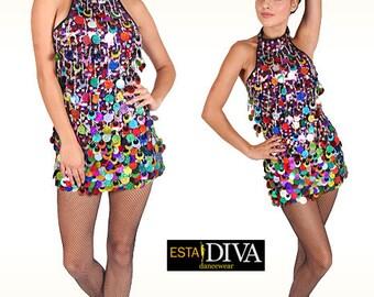 Salsa Dance Dress - Vida Colorida - Latin dance dress, Latin dress, Latin dancewear, sequin dress, showgirl dress, sexy dress,