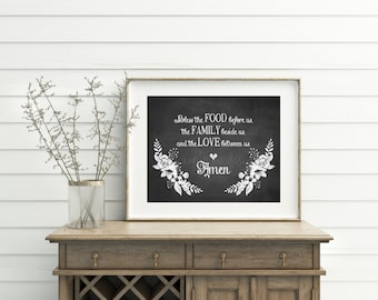 Bless The Food Before Us Sign Chalk Printable Kitchen Decor Wall Art