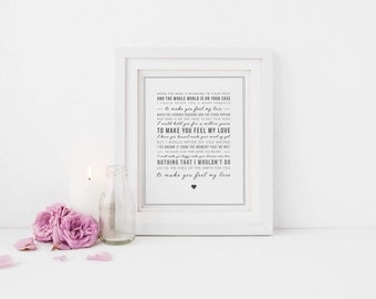 Adele 'Make You Feel My Love' Song Lyrics Print - Typographic Wall Art Quote - Song Lyric Print - Music Gift - Can be personalised