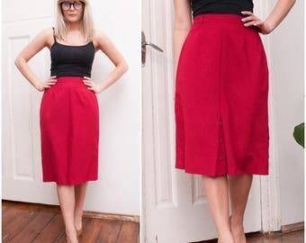 80s Red Secretary Pencil Skirt High Waisted Straight Knee Length Smart Bright Summer Office Skirt Medium W29 W30 Long Double Slit Skirt M