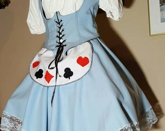 Alice in Wonderland,sky blue corset  costume ,steampunk,disney cosplay,4 piece set,blouse,blue corset vest,blue skirt,white apron