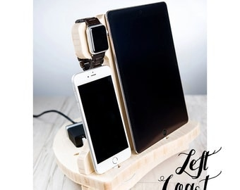 Apple Watch Charging Station Dock iPhone iPad Stand Android Her Men Women Wedding Bride Groom Boyfriend IncludesUSB