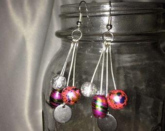 Fun pink splatter silver sparkle dangle earrings