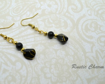 Black Glass Pearl and Acylic Earrings with Gold Accents