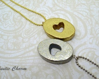 Gold or Silver Polymer Clay Glitter Heart Pendant Necklace