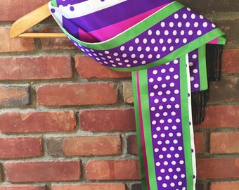 Vintage Scarf - Extra Long Polka Dot and Stripe Scarf with Tassels