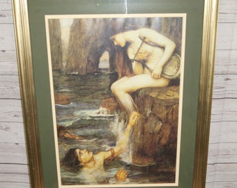 Large Framed Victorian Pre-Raphaelite Fine Art Print: The Siren by J W Waterhouse