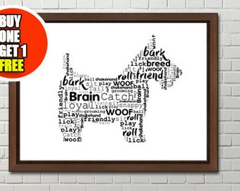 Dog personalised art print,  westie  print, small dog  artwork
