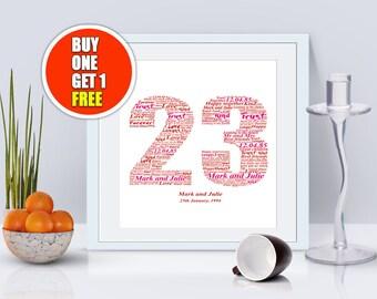 23rd anniversary, 23rd anniversary gift, twenty third anniversary, 23rd anniversary present
