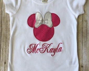 Minnie Mouse Appliqued Shirt/Girls Minnie Shirt/Disney Shirt/Monogrammed Disney Shirt/Disney Mouse Shirt