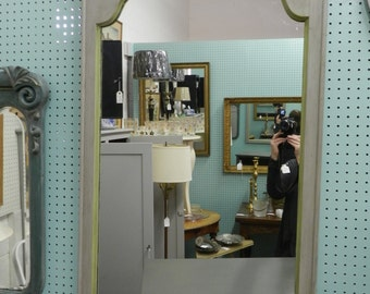 Vintage Mirror painted Grey and Lime Green