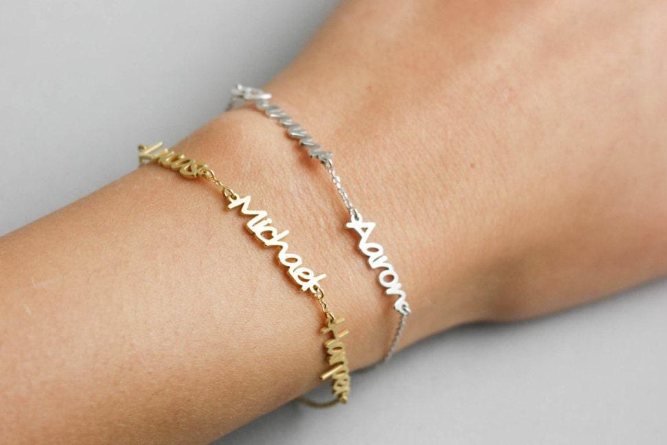 Etsy rose gold jewelry map necklace etsy 24 pearl engagement kids name bracelet custom name bracelet name bracelet gumiabroncs Choice Image