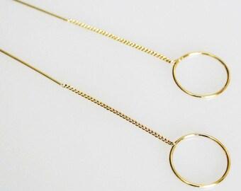 Hoop Circle Threader Earrings, Small Hoop Threader, Circle Threader Earrings