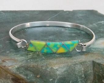 Mexico Vintage Silvertone Hinge Bracelet Green & Yellow Enamel Inlays