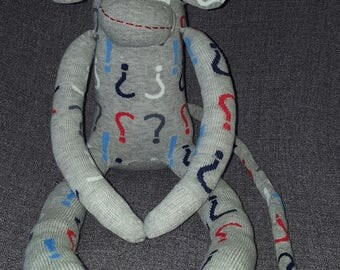 Dr. Who Question Mark Hand Sewn Sock Monkey