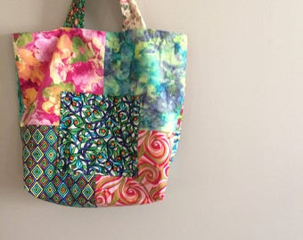Patchwork tote bag purse in bright colors!