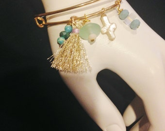 Gold Tone Bangle Charm Bracelet Handmade Jewelry Beachwear #29