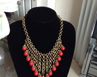 Vintage Necklace, Art Deco, Miriam Haskell, Brass Bib Necklace, Red Glass Beads, Antique, 1930s, 1940s, Dangle Necklace