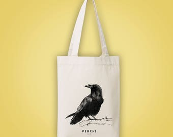 Sac cabas en toile recyclée (recycled woven tote bag) corbeau PERCHÉ perched (on), (very) high crow raven animal totem 2015 illustration