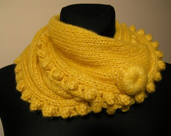 Yellow knitted scarf,handmade scarf,decorated with crochet detail,soft scarf,knitted christmas gift